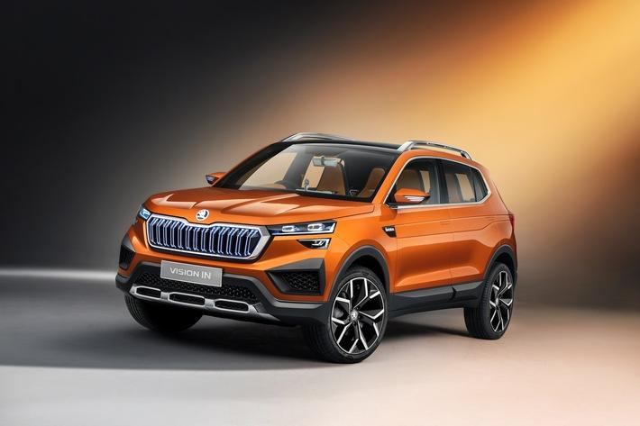 SKODA auf der Auto Expo 2020 in Neu-Delhi: Konzeptstudie VISION IN als erstes Fahrzeug des Projekts INDIA 2.0