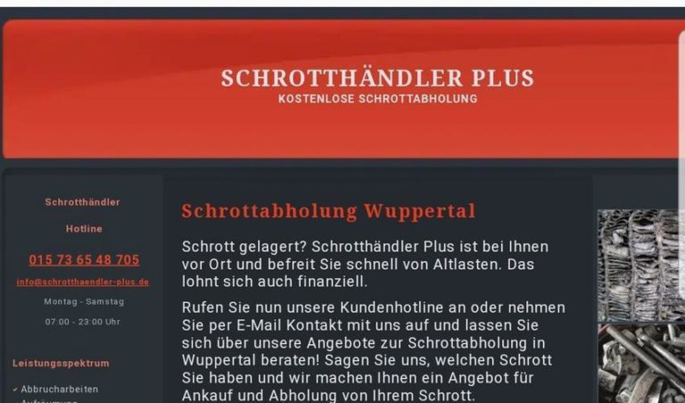 Kostenlos Schrottabholung, Metallschrott und Altmetall in Wuppertal