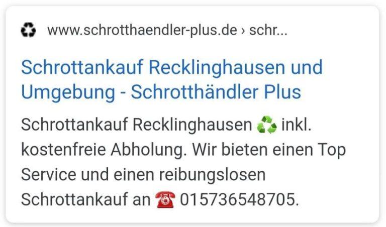 Schrottankauf Recklinghausen zahlen wir gute Preise _Mit der Schrottankauf_plus
