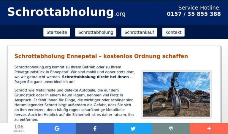 Schrott abholen lassen – Schrottabholung in Ennepetal