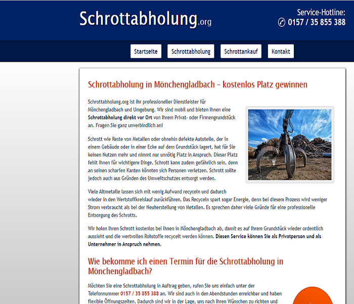 Schrottabholung in Mönchengladbach: Unkompliziert und spezialisiert über Schrottabholung.org