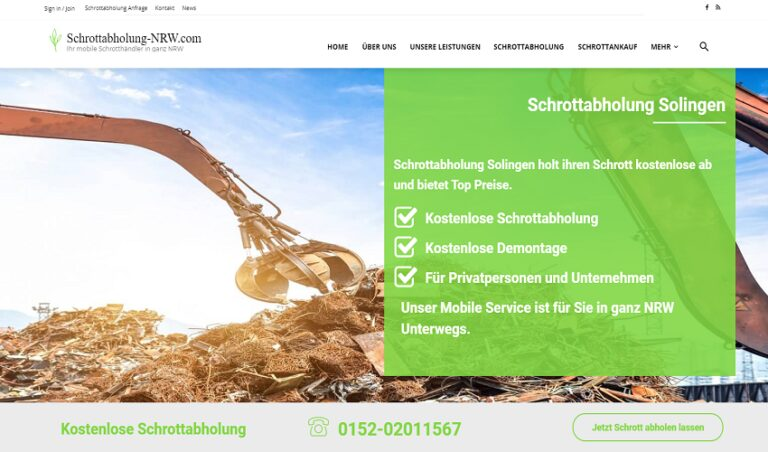 Schrottabholung Solingen – kostenlos Altmetall und Schrott entsorgen