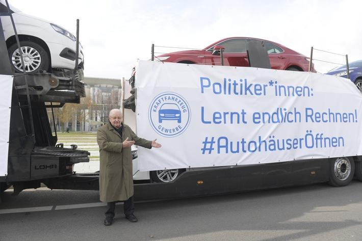 Protest am Kanzleramt: ZDK fordert bundesweite Öffnung des Autohandels