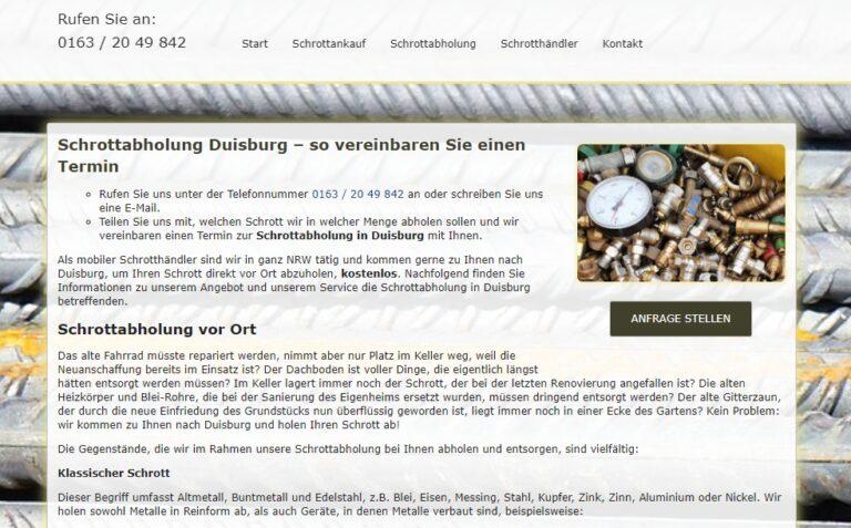 Die Schrottabholung Duisburg erledigt zuverlässig sämtliche Schrottabholungen und Demontagen und bietet außerdem einen Ankauf