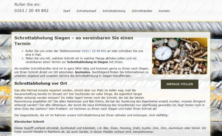 Altmetall abholen in Siegen : Gerne sammeln wir Ihre Wertstoffe wie Eisen- und Metallschrott