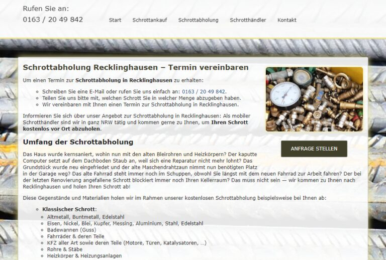 Altmetall abholen Recklinghausen