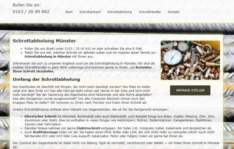 Schrottabholung Münster : Wir sammeln alle Altmetalle und Eisen