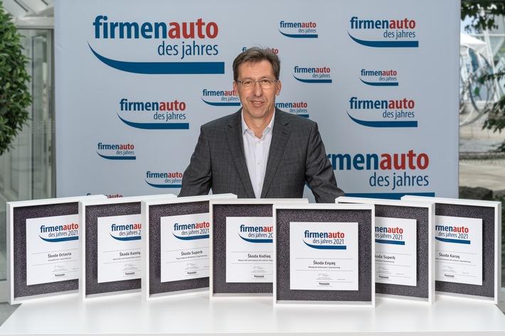 ŠKODA gewinnt sieben Titel bei der Wahl 'Firmenauto des Jahres 2021'