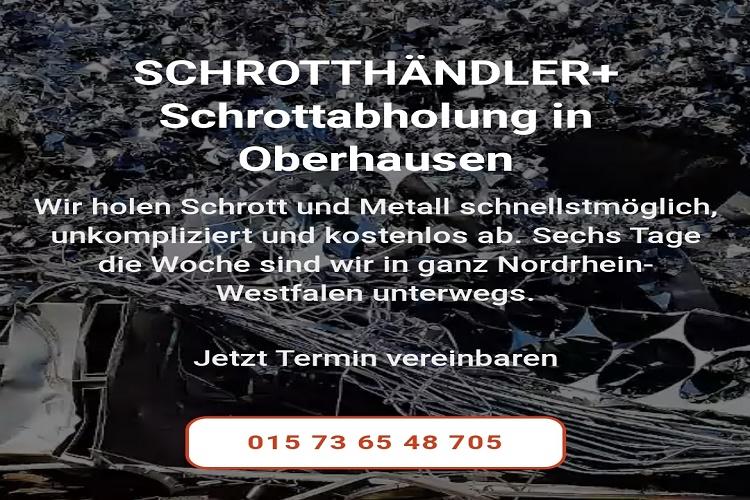 Unser Team holt Ihren Schrott in Oberhausen und Umgebung kostenfrei für Sie ab durch unseren mobile Schrotthändler