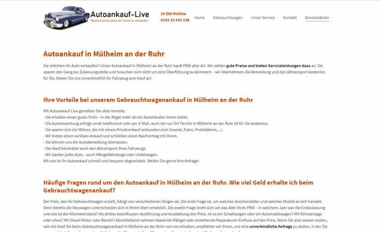Wir kaufen Ihren Gebrauchtwagen in Mülheim an der Ruhr und Umgebung