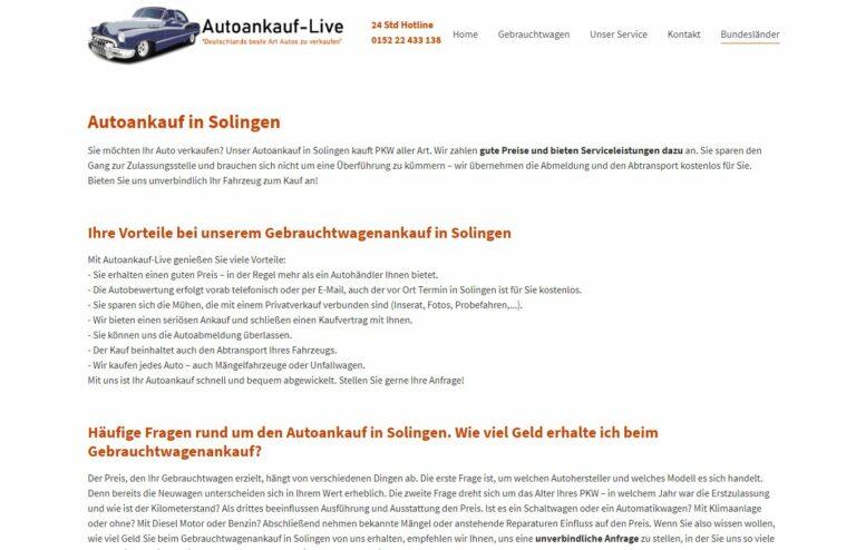 Autoankauf Solingen – ist Ihr Partner für den Gebrauchtwagen-Verkauf in Solingen und Umgebung