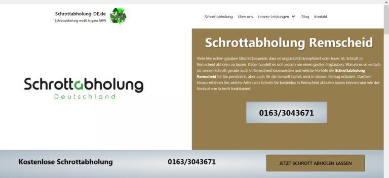 Schrottabholung Remscheid – Schrott und Altmetall abholen lassen – Jetzt Termin vereinbaren!
